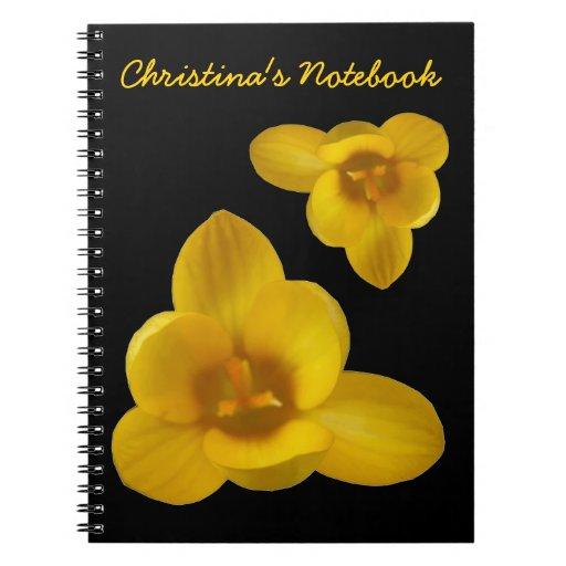 Cuaderno amarillo del personalizable del azafrán