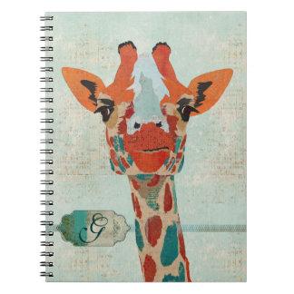 Cuaderno ambarino del monograma de la jirafa que