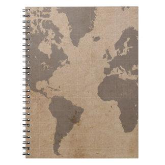 Cuaderno Antiqued del mapa del mundo