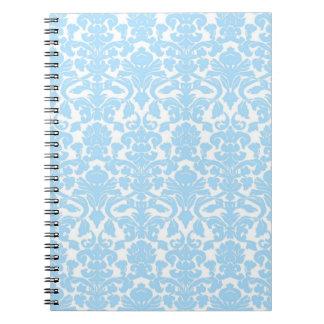 Cuaderno azul claro floral adornado del vintage
