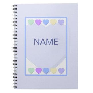 Cuaderno azul conocido de los corazones del bebé