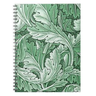 Cuaderno azul de la hoja del Acanthus del vintage
