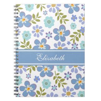 Cuaderno azul de las flores personalizado