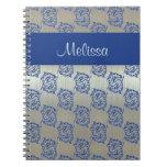 Cuaderno azul de plata del modelo de los pescados