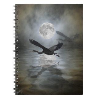 Cuaderno azul del animal salvaje de la luna de la