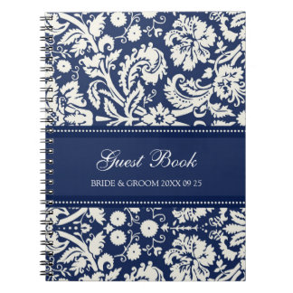 Cuaderno azul del damasco del libro de visitas del