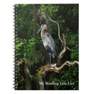 Cuaderno azul del diario de Birding de la garza