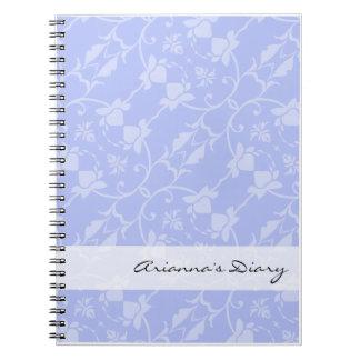 Cuaderno azul del diario del damasco del bígaro