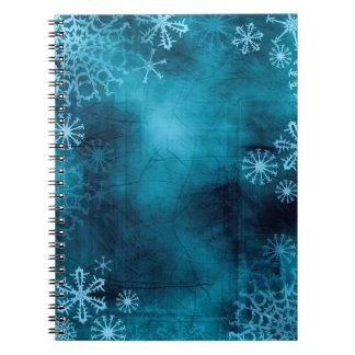 Cuaderno azul del Grunge del copo de nieve