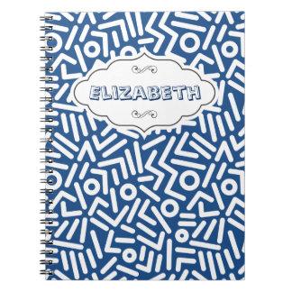 Cuaderno azul del modelo del monograma de los