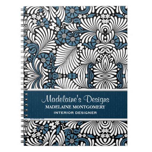 Cuaderno azul del negocio del helecho