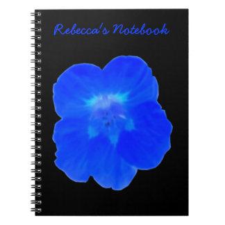 Cuaderno azul del personalizable de la capuchina