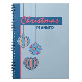 Cuaderno azul del planificador de las bolas retras