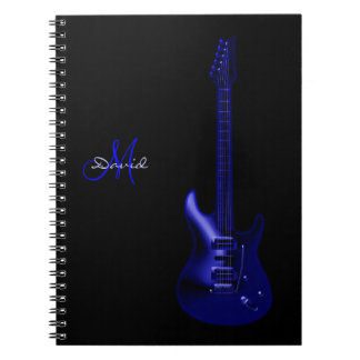 Cuaderno azul eléctrico personalizado de la música