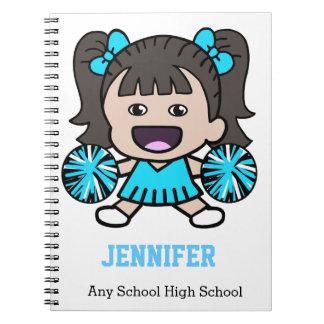 Cuaderno azul lindo de la animadora