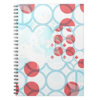 Cuaderno azul rojo del modelo del círculo