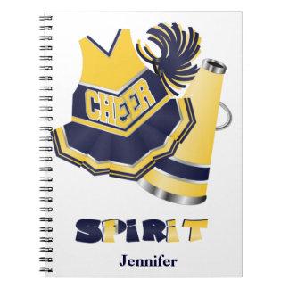 Cuaderno azul y amarillo de la animadora
