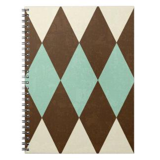 Cuaderno azul y marrón del argyle