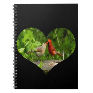 Cuaderno, besando a cardenales libro de apuntes