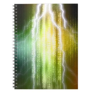 Cuaderno binario del relámpago de la lluvia