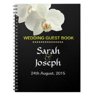Cuaderno blanco de la huésped del boda de la orquí