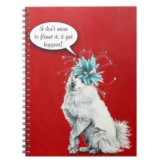 Cuaderno blanco de lujo caprichoso del perro
