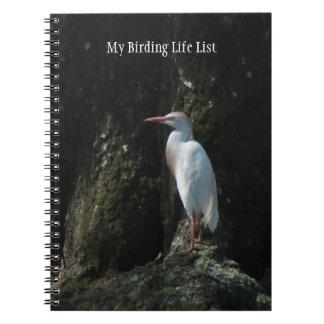 Cuaderno blanco del diario de Birding del Egret