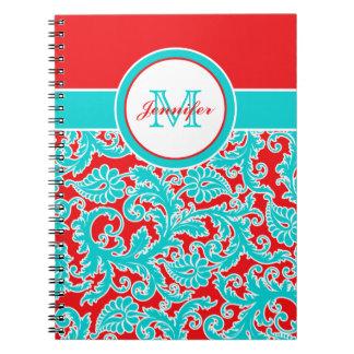 Cuaderno blanco personalizado del damasco del rojo