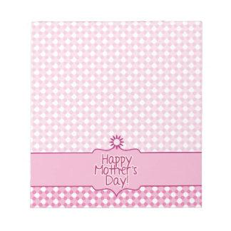 Cuaderno blanco rosado del día de madres de la flo blocs