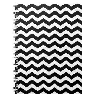 Cuaderno blanco y negro moderno de Chevron