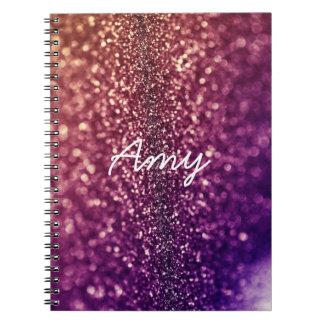 Cuaderno bling nombrado púrpura del brillo de AMY