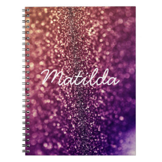 Cuaderno bling nombrado púrpura del brillo de MATI