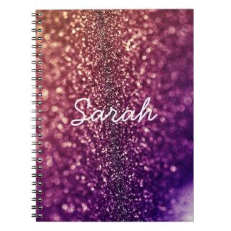 Cuaderno bling nombrado púrpura del brillo de SARA
