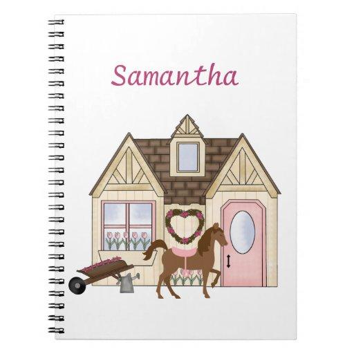 Cuaderno bonito personalizado del caballo de la
