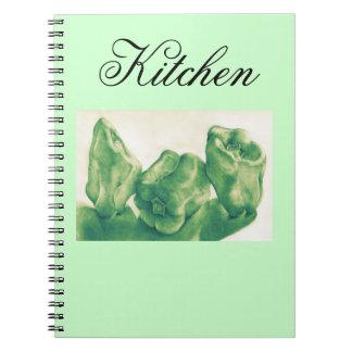Cuaderno botánico de las pimientas verdes del arte