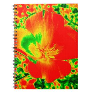 Cuaderno brillante de la amapola