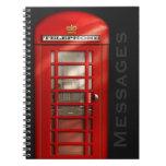 Cuaderno británico clásico de los mensajes telefón