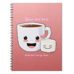 Cuaderno caliente feliz del cacao y de la melcocha