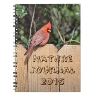Cuaderno cardinal del diario (del pájaro rojo)
