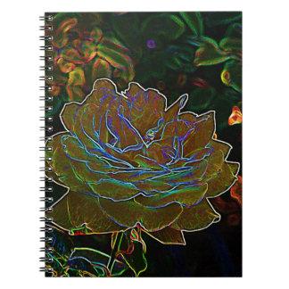 Cuaderno color de rosa de neón amarillo