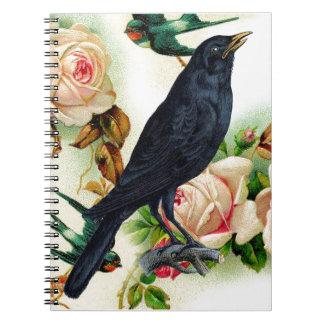 Cuaderno color de rosa del valor del cuervo