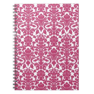 Cuaderno color de rosa fucsia floral del damasco