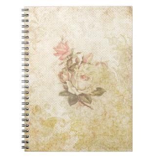 Cuaderno color de rosa rosado y de marfil del vint