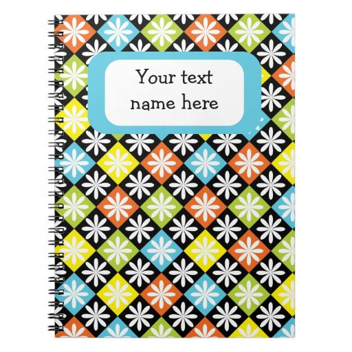 Cuaderno colorido floral del personalizado del mod