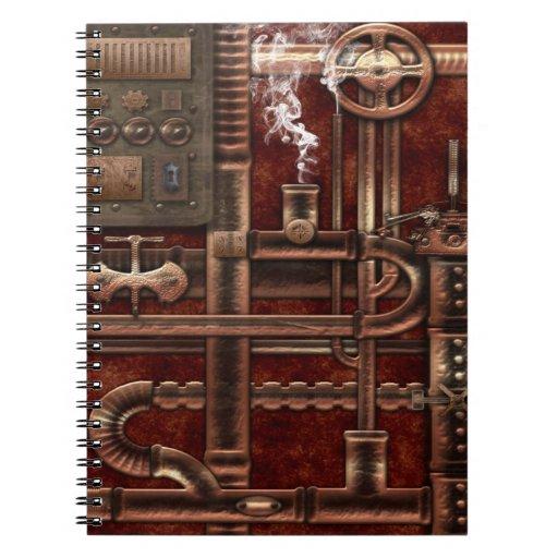 Cuaderno con la cubierta del diseño de Steampunk