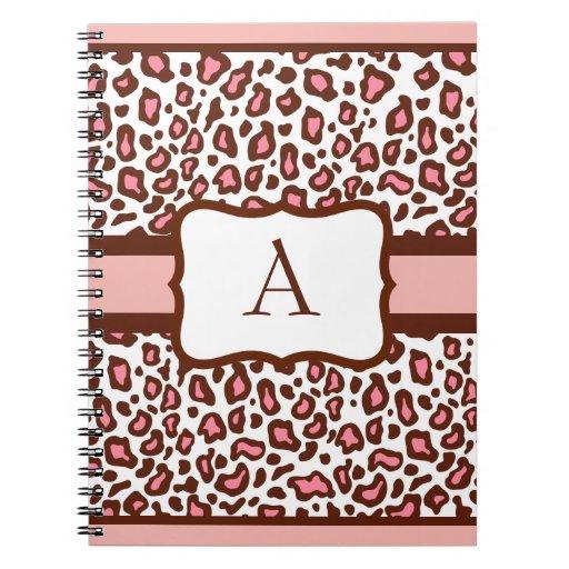 Cuaderno con monograma del estampado leopardo