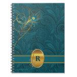 Cuaderno con monograma del pavo real del trullo