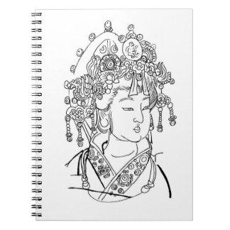 Cuaderno con señora Portrait del chino tradicional