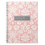 Cuaderno coralino del damasco del blanco gris del