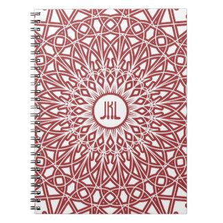 Cuaderno Crocheted del monograma del cordón - rojo